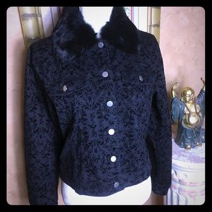 Anthropologie Luii black brocade jacket